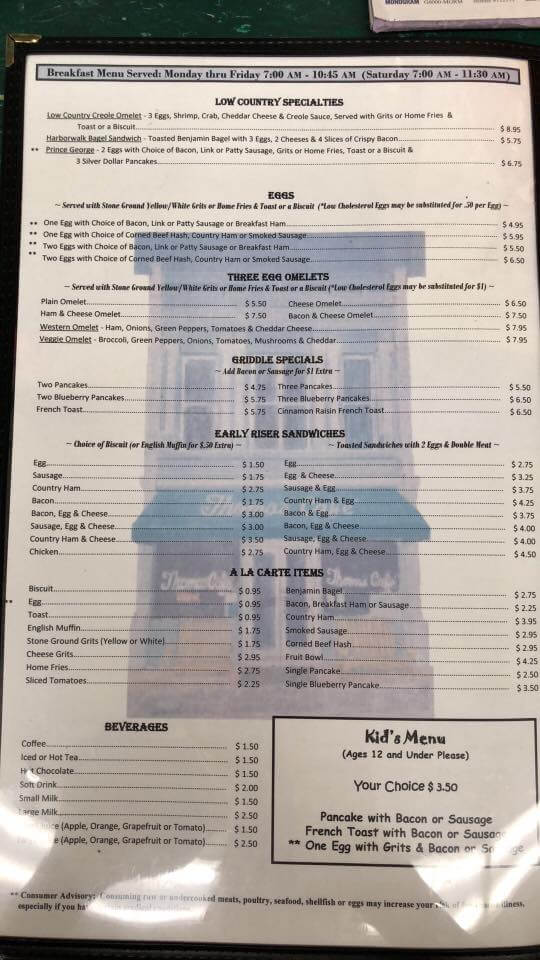 Thomas Cafe Restaurant Menu